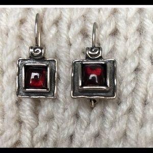 Silpada Garnet Square Earrings